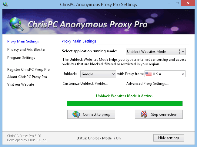 ChrisPC Free Anonymous Proxy lets you unblock YouTube videos, Twitter and Facebook